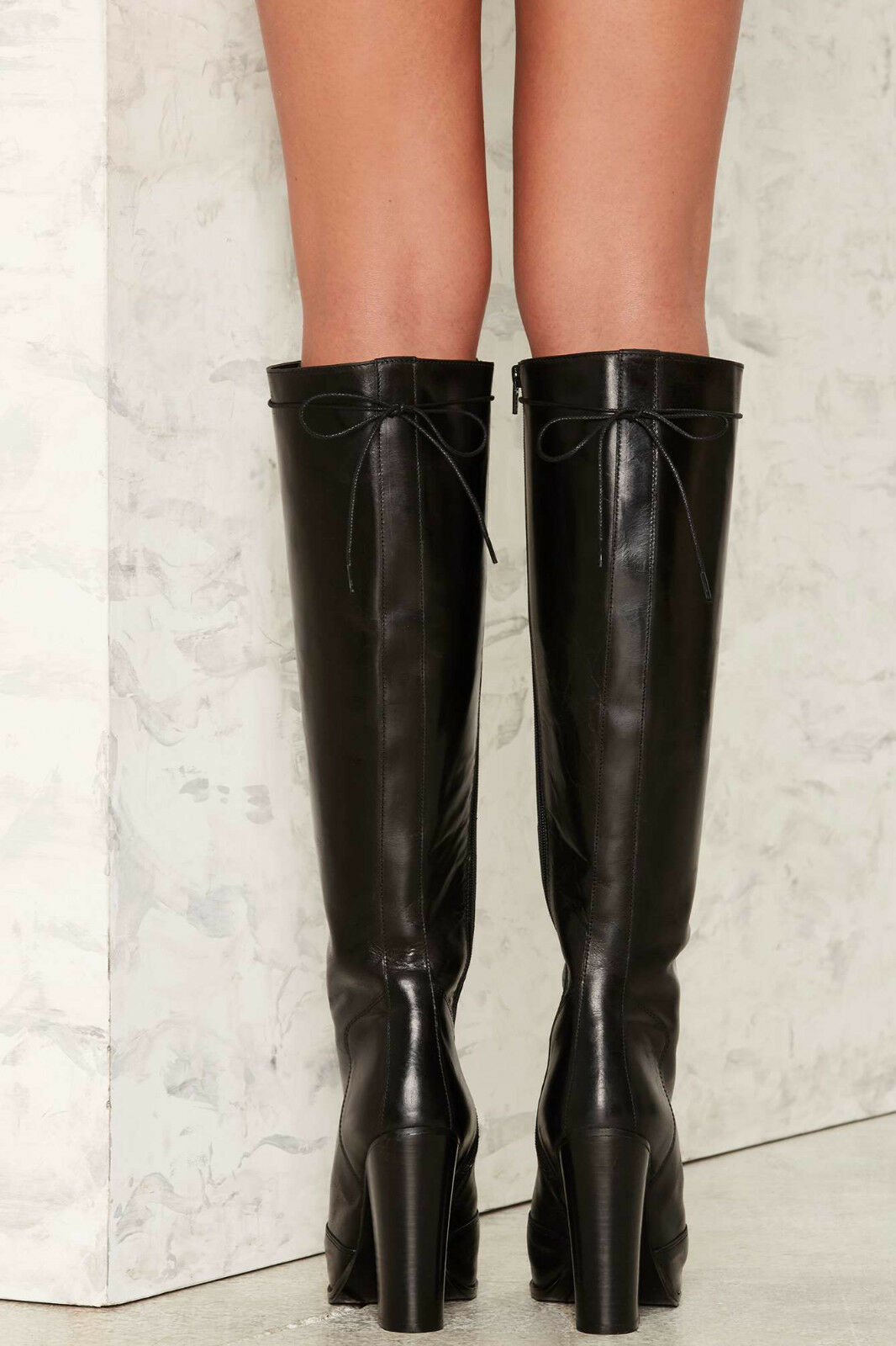NEW NASTY GAL GAL GAL  258 TAKE IT UP A NOTCH BLACK LEATHER BOOTS SZ 39 6d13c5