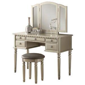 Vanity Table Dressing Room Mirror Silver Dresser Bathroom Desk Stool Set  Girls