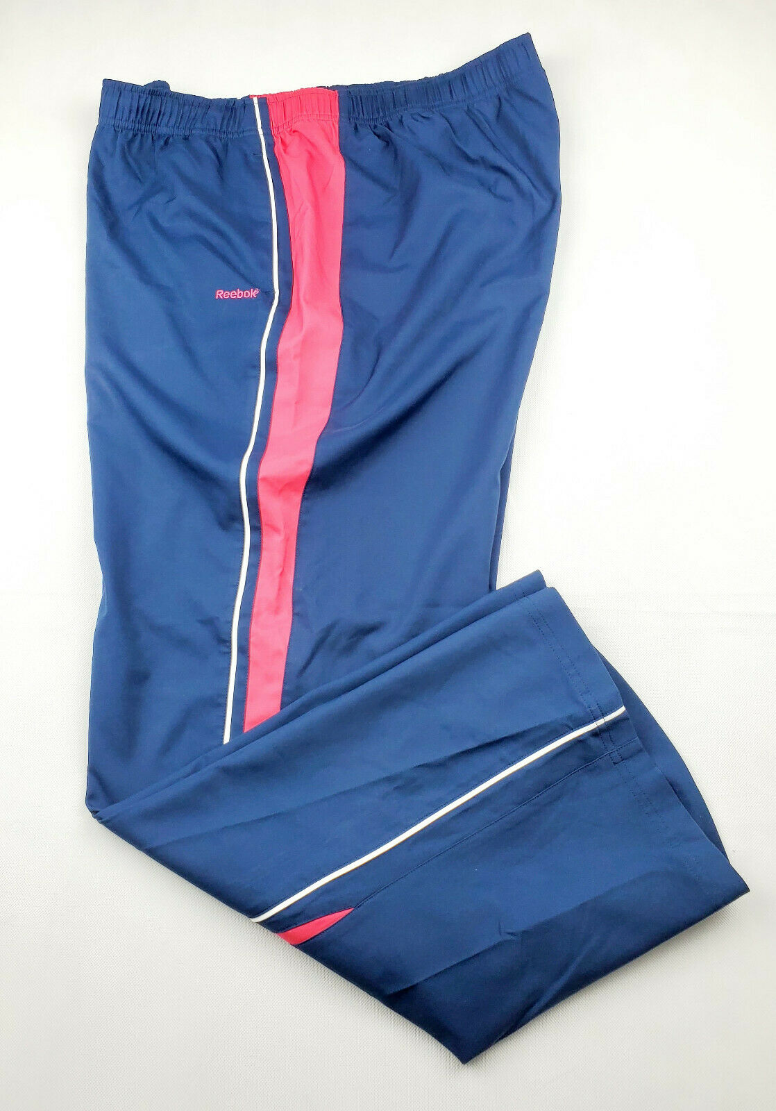Reebok Womens Athletic Pants Size XL Navy Pink Preowned