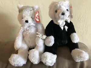 Beanie Babies TY BRIDE and GROOM Tuxedo & Veil 2002 Plush Bears Set of 2