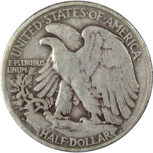 1935 D 50c Liberty Walking Silver Half Dollar US Coin VG Very Good