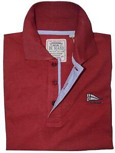 MAGLIA-POLO-UOMO-M-L-XL-XXL-3XL-100-cotone-manica-lunga-rosso-bordo-BeBoard