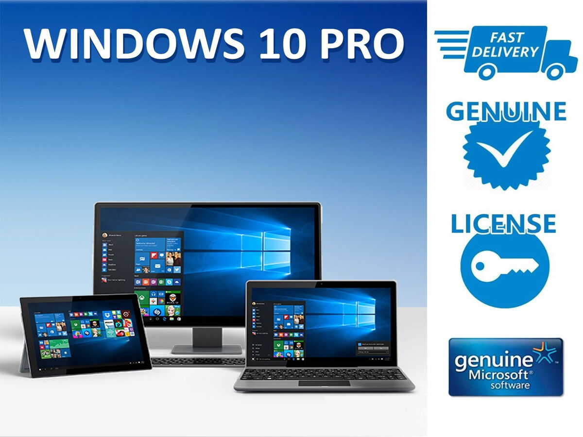 windows 10 pro professional 32 64bit genuine oem license key ebay. Black Bedroom Furniture Sets. Home Design Ideas