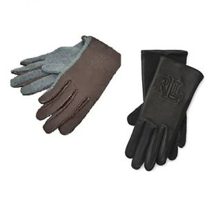 Lauren-Ralph-Lauren-Women-039-s-Logo-Gloves-Hybrid-Leather-and-Knit-Tech-S-M-L-XL