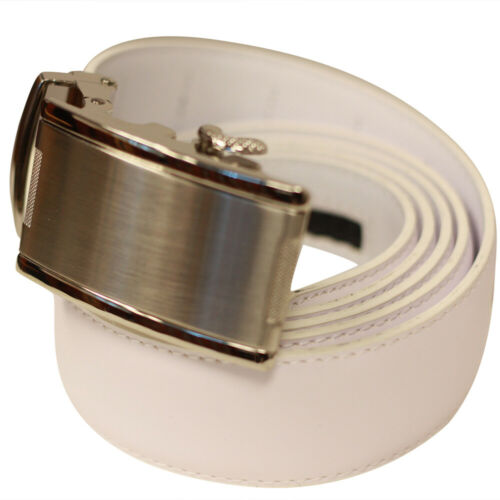 Ratchet Mechanism Tight Fit. Steel Buckle Men/'s White Leather No Hole One-Belt