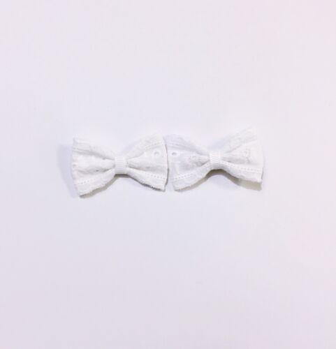 2x White Lace Baby Hair Clip Bow Toddler// Girl Hair Clip  HC44