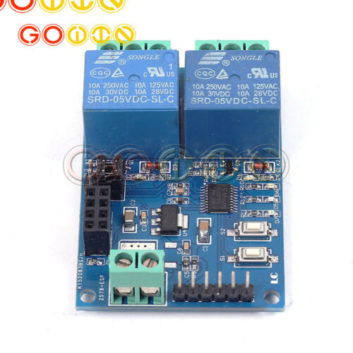 5//12V  2Channel ESP8266 Wifi Relay Remote Control Switch APP for SmartHome