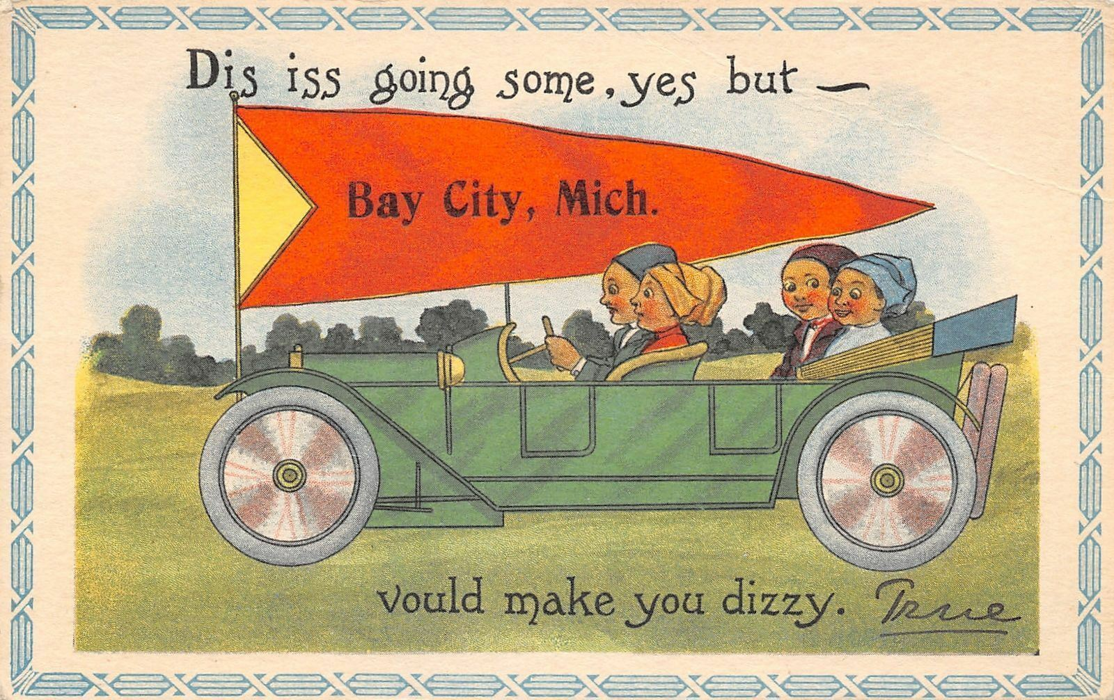 Bay City MI Dis Iss Going Some, But Vould Make You Dizzy~Couple in Auto 1914