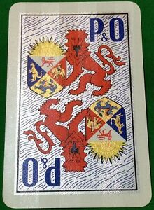 Playing-Cards-1-Single-Card-Old-P-amp-O-Shipping-Line-Advertising-Art-Design-LION