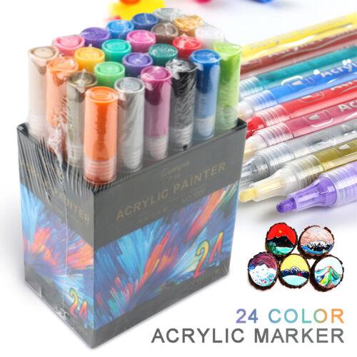 24 Farben Acrylstifte Marker Stifte Set Acrylfarben Wasserfest Für DIY Graffiti