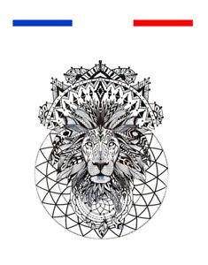 Tatouage Tete De Lion Tribal Femme Homme Temporaire Boheme Chic