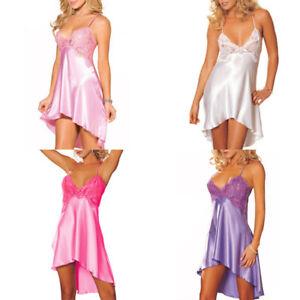 Women-Lady-Silk-Robe-Dress-Set-Nightgown-Lingerie-Babydoll-Nightdress-Sleepwear