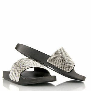 c79f85286 Image is loading Kids-girls-Sliders-Sandals-Slip-On-Glitter-diamante-