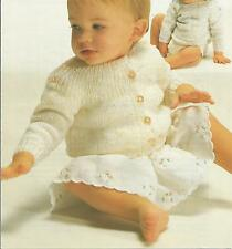 Vintage Knitting Pattern Baby Sweater & Cardigan 42