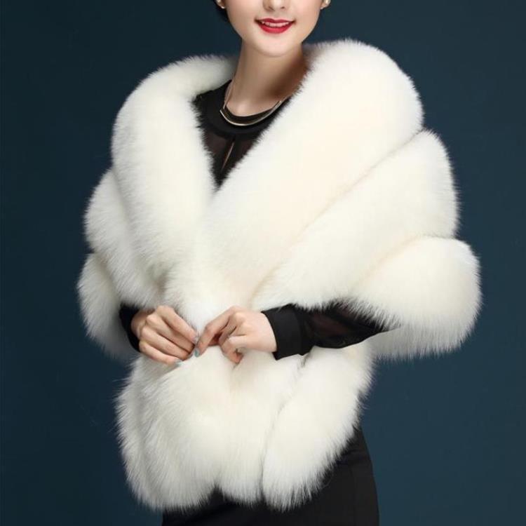 White Plush faux Fur Women Wedding Wraps Shrug Bolero Bridal Coat Shawl Cape