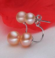 New Fashion Women's Stud Earrings Silver Double Pink Freshwater Pearl