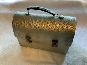 Vintage-1950s-Domed-Dimpled-Aluminum-Lunchbox-Non-Rust-Silver-Lunchpail-Workers
