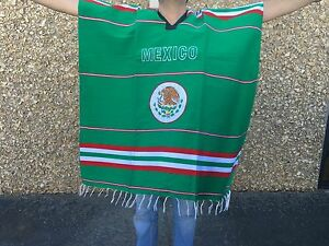 Embroidered Black Mexican Poncho Gaban bordado,Escudo Nacional El tri Soccer