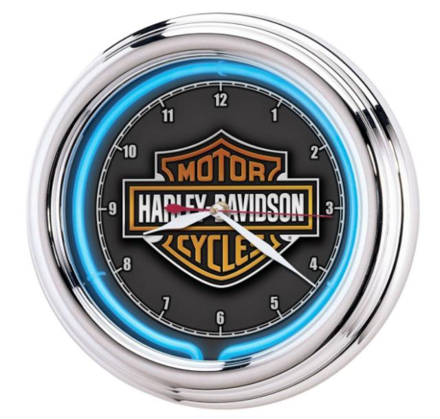 Harley-Davidson Bar & Shield Blue Neon Wall Clock Electric Chrome Frame Garage