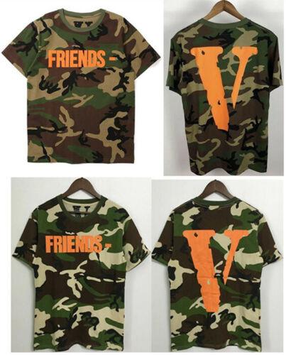 VLONE FRIENDS T-shirt Camouflage Tops Big V Tee Shirt Western Style Tshirt Men/'s