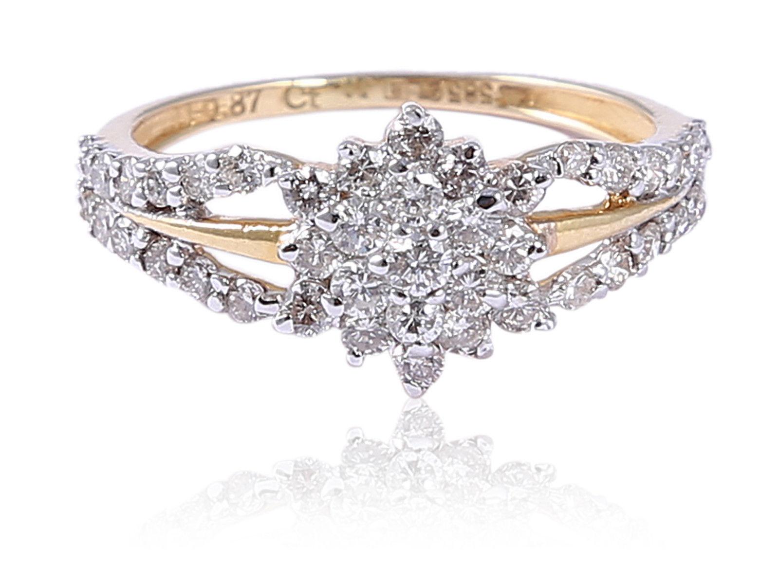 0.87 Cts Round Brilliant Cut Diamonds Anniversary Ring In Fine Hallmark 14K gold