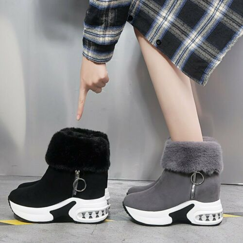 New Womens Casual Winter Warm Faux Suede Fur Lined Ankle Boots Wedge Heel Snow