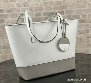 KATE SPADE NEW YORK BRIEL LEATHER LARGE TOTE SHOULDER BAG $329 White/Gray
