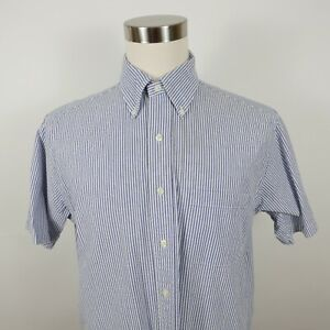 Brooks Brothers 346 Mens Cotton SS Button Down Blue White Striped Dress Shirt M