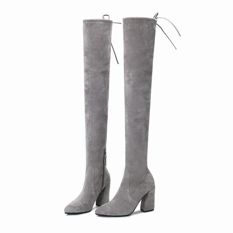 Womens Lace Up Zipper Pointy Toe Suede Block Block Block Heels Knee High Boots Casual shoes 20f660