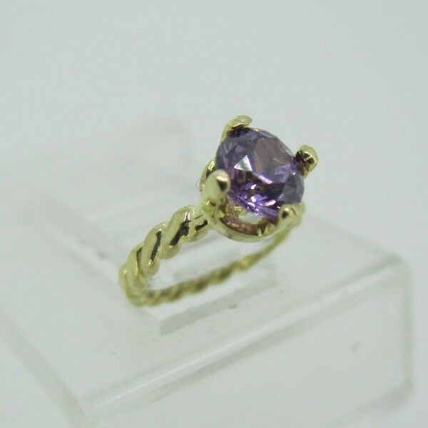 10k Yellow gold February Created Amethyst Birthstone Charm Pendent