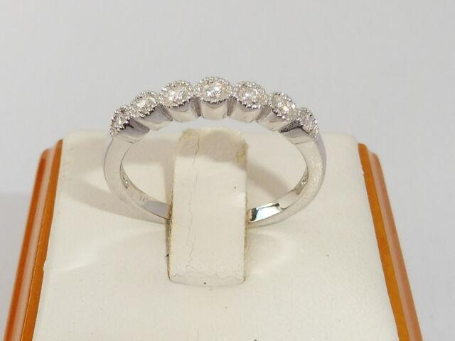Art Deco Design Ladies 925 Silver Brilliant Cut White Sapphire Eternity Ring