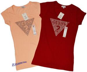 Guess-Debardeurs-Haut-Col-Rond-Haut-Shirt-2-Couleurs-avec-Motif-100-Coton-XS