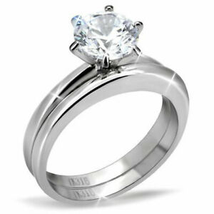 Silver-Stainless-Steel-Round-CZ-Women-039-s-Wedding-Engagement-Ring-Sets-Size-5-10