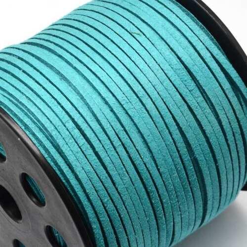 3 M DE CORDON PLAT SUEDINE ASPECT DAIM Vert Turquoise CREATION BIJOUX PERLES
