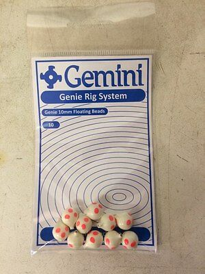 """Genie 8mm Floating Beads /""""fluo yellow/"""" Gemini Rig System 10/'s"""