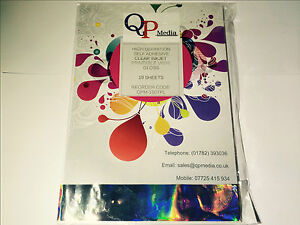 HIGH-DEF-CLEAR-A4-INKJET-SELF-ADHESIVE-STICKER-LABEL-VINYL-NOT-PAPER-10-SHEETS