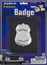 Police Badge on Wallet Holster Silver Black FBI SHERIFF Costume Halloween NEW