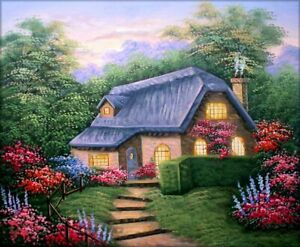 Quality-Hand-Painted-Oil-Painting-Cottage-in-Evening-20x24in