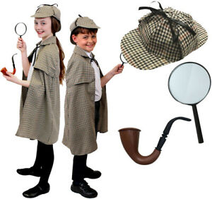 Boys Victorian Detective Costume Sherlock Holmes Kids Book Day Week Fancy Dress