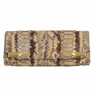 2d6d2c608f1 Details about 52955 auth CHRISTIAN LOUBOUTIN beige PYTHON Snakeskin leather  Clutch Bag