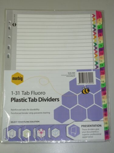Marbig 1-31 tab A4 Fluoro Plastic tab Dividers 36028 indice dividers 31 tabs