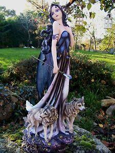 15355 Grande Statuette Figurine Fee Fees Loup Elfe Heroic 65cm Gm Fata