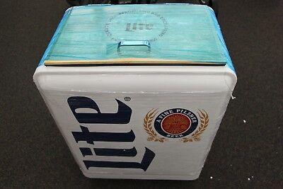 Brand New Retro Miller Lite Vintage Metal Cooler Ice Chest On Wheels Ebay