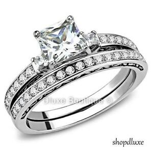2-05-Ct-Princess-Cut-AAA-CZ-Stainless-Steel-Wedding-Ring-Set-Women-039-s-Size-5-10