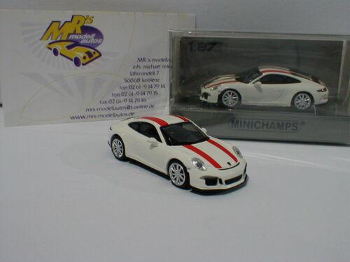 991 R Bj.2016 weiß mit roten Streifen 1:87 Minichamps 870066220 # Porsche 911