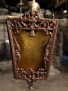 Antique-Arts-and-Crafts-Mission-Slag-Glass-Hanging-Porch-Pendant-Light-Fixture
