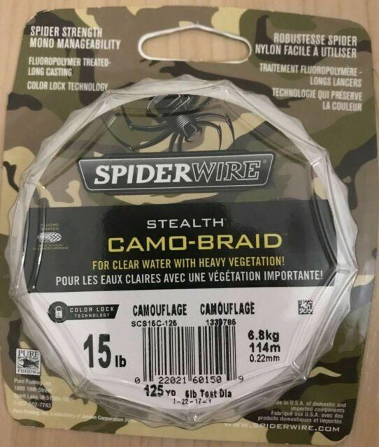 0.25 mm 0.010 in Braided Line Spiderwire Stealth Camo-Braid 20lb 125yd