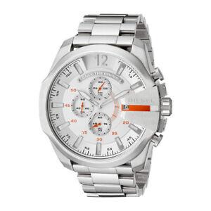100-New-Diesel-DZ4328-White-Dial-Stainless-Steel-Quartz-Chronograph-Men-039-s-Watch