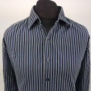 GAP-Mens-Shirt-2XL-Long-Sleeve-Blue-Regular-Fit-Striped-Cotton