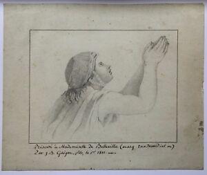 Disegno-Antico-Didascalie-Mademoiselle-di-Belleville-Epoca-Napoleone-1801-Camme